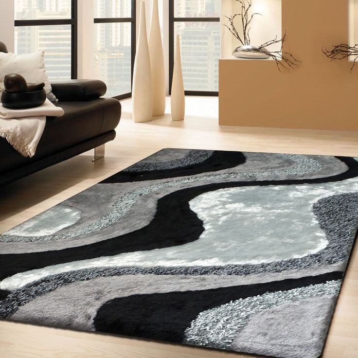 2 Piece Set | Grey With Black Shag Rug With Rug Pad Part 56