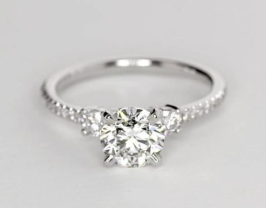 View unique recently purchased Petite Micropave Trio Diamond Engagement Ring  in White Gold ct. tw.) with 1 carat round diamond. Explore similar settings  or ...