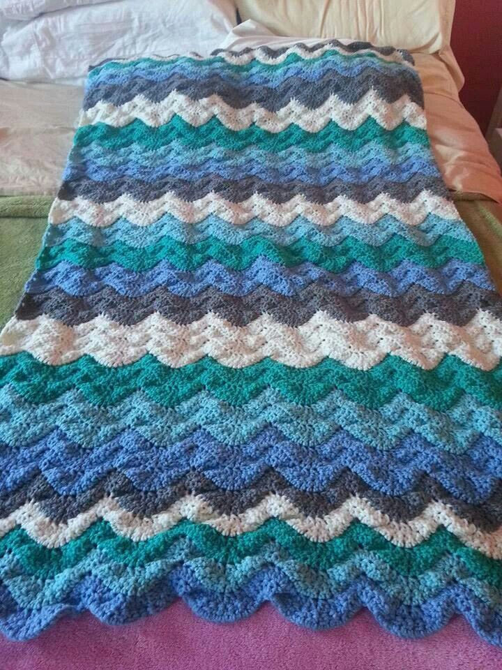 Ocean Wave Throw Afghan Crochet Patterns Crochet