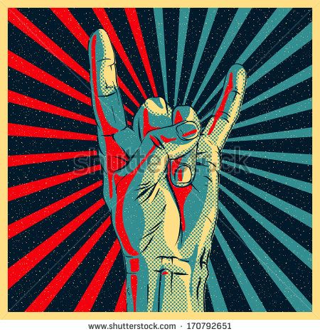 Hand in rock n roll sign, vector illustration.