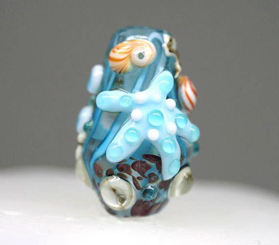 Blue Starfish pendant bead Marine Life jewelry Blue glass