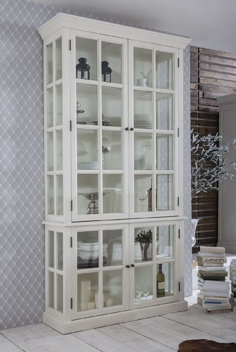 vitrinenschrank vitrine wei landhausstil shabby chic. Black Bedroom Furniture Sets. Home Design Ideas