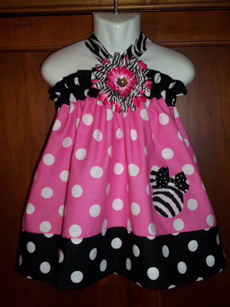 Disney Dress Minnie Mouse dress pink 1st Birthday Party outfit zebra bow flower clip AVAILABLE size 3 6 9 12 18 months 2t 3t 4t 5 6 7 8 9 10. $39.50, via Etsy.