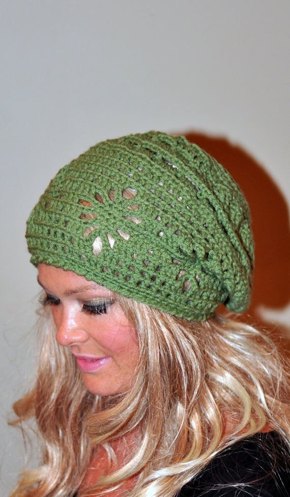Slouchy Beanie Women Hat Slouchy Hat Summer Hat CHOOSE COLOR Green Forest Pea Green Crochet Gift under 50