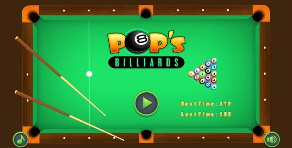 POP's Billiards - HTML5 Game + AdMob (Capx) . POP's has features such as High Resolution: Yes, Compatible Browsers: Firefox, Safari, Opera, Chrome, Edge, Software Version: HTML5, Construct 2, Other
