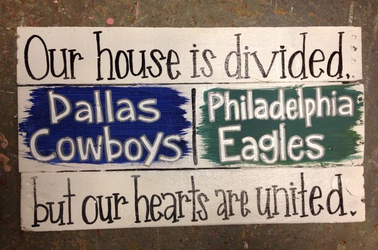 House divided sign. Homemade DIY. Pallet pieces. Dallas Cowboys and Philadelphia Eagles. Home decor. She's Crafty by Sg.