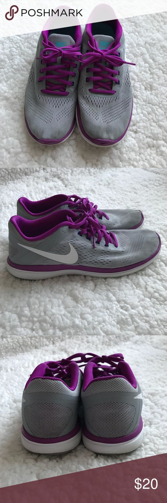 Nike Flex 2016 Run 🏃♀️ Pair of Nike 2016 Run shoes in Excellent Condition!! Some marks on the top but the shape, sole and overall condition is excellent!! Grey with purple Nike Shoes Sneakers