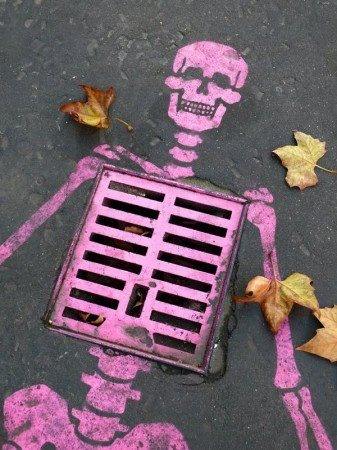"""Could be a """"you are what you eat"""" reminder. Likewise could be encouraging us to always be mindful of what we are pouring down the drain. Then again, maybe the artist is a fan of pink skeletons who simply saw an opportunity!"""