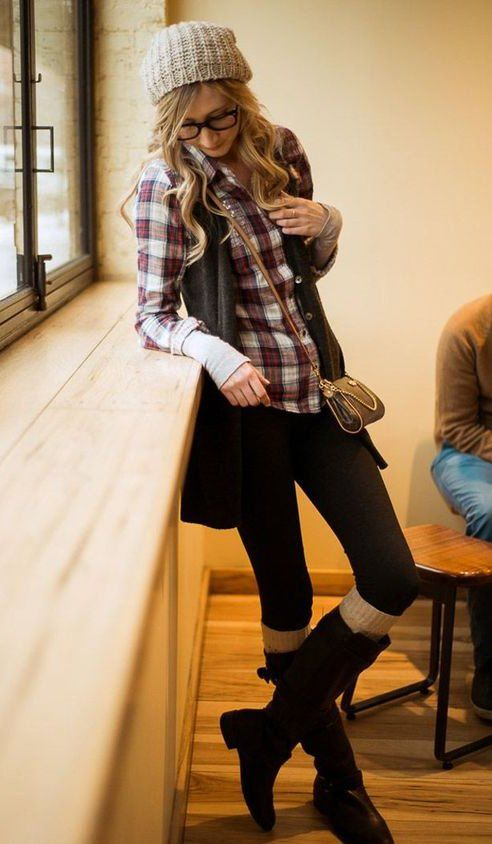 warm outfits of hipster style                              …