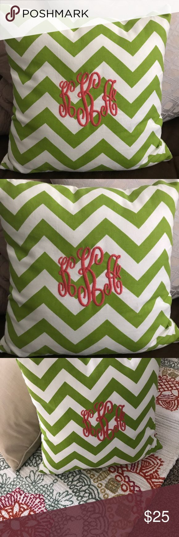 Chevron monogrammed KKA pillow cover and insert About to get married and monogram is changing. Too fabulous of a pillow to be stored in a closet! 13x13. Zipper canvas lime green and white chevron cover with coral embroidered monogram. kKa. Insert included. Other