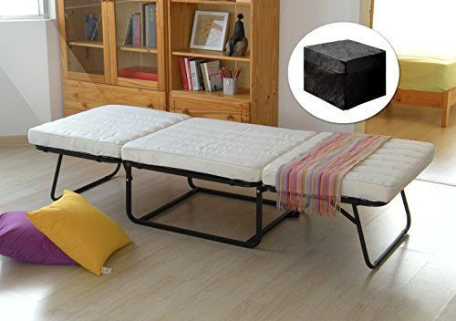 Kings-Brand-Folding-Ottoman-Guest-Bed-Sleeper-With-Mattress-amp-Fabric-Cover-Black