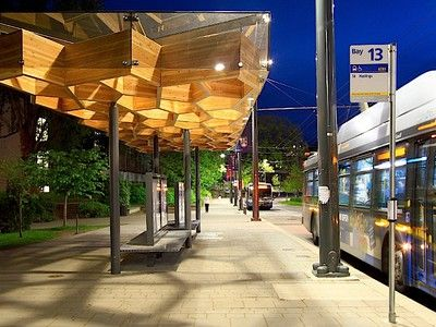 Hit or Miss: Bus shelter is built of glulam wood to act like a tree