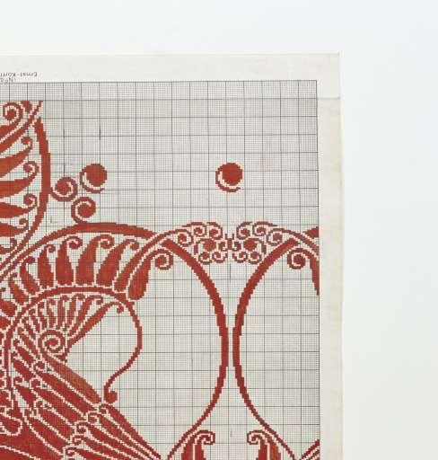 """Patroontekening voor een damasten servet met dessin """"Haantjes""""., Chris Lebeau, c. 1906 - Rijksmuseum"""