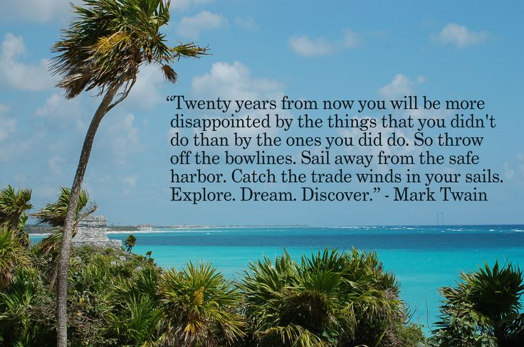 """Twenty years from now, you will be more disappointed by the things that you didn't do than by the ones you did do.  So, throw off the bowlines.  Sail away from the safe harbor.  Catch the trade winds in your sails.  Explore.  Dream.  Discover.""  ~Mark Twain"