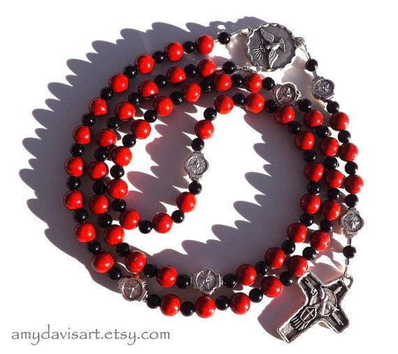 Confirmation Rosary Five Decade Red Rosary Catholic by AmyDavisArt