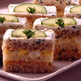 Ribbon Sandwiches. (Tea sandwiches with egg salad and ham filling for a special occasion.)
