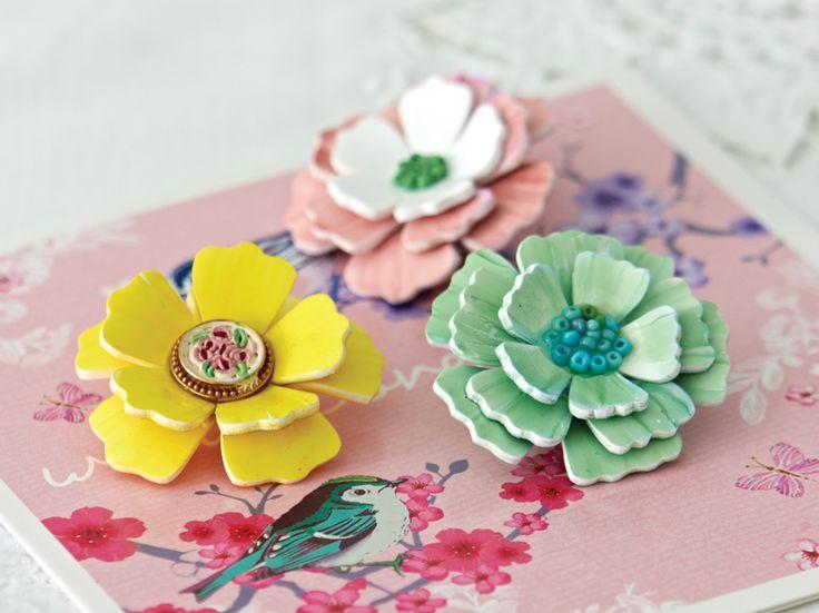 Shrink plastic flower brooch