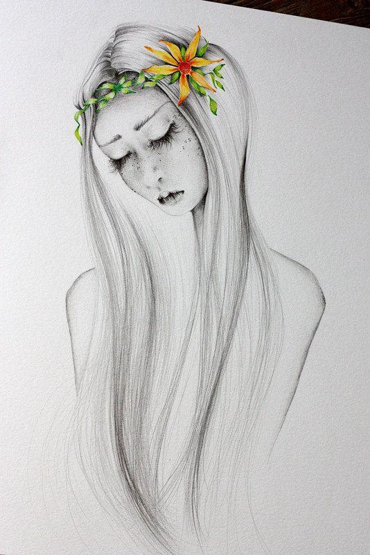 Pencil Drawing OOAK Watercolor Painting & by ABitofWhimsyArt
