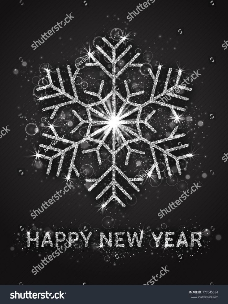 happy new year vector greeting card template 3d silver sparkling snowflake and lettering with shimmer