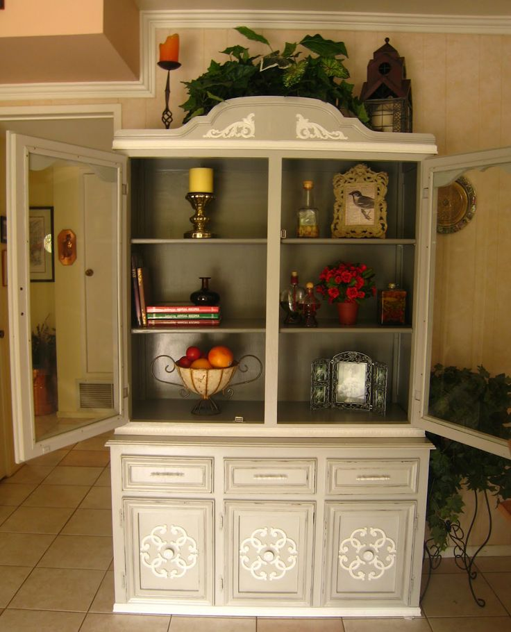 grey distressed china cabinet  | french grey with a classic french grey interior and shelves