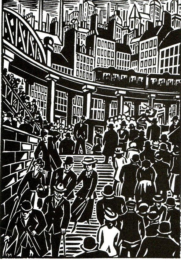 Frans Masereel woodcut novel entitled The City, German publisher Kurt Wolff 1925.
