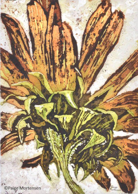 """Beauty Behind ©Paige Mortensen Watercolour Batik 10x14"""" $225"""