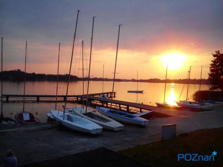 Poznań Poland, letni zachód słońca nad Jeziorem Kierskim [fot. S. Wo]