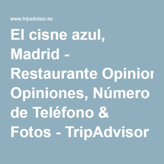 El cisne azul, Madrid - Restaurante Opiniones, Número de Teléfono & Fotos - TripAdvisor