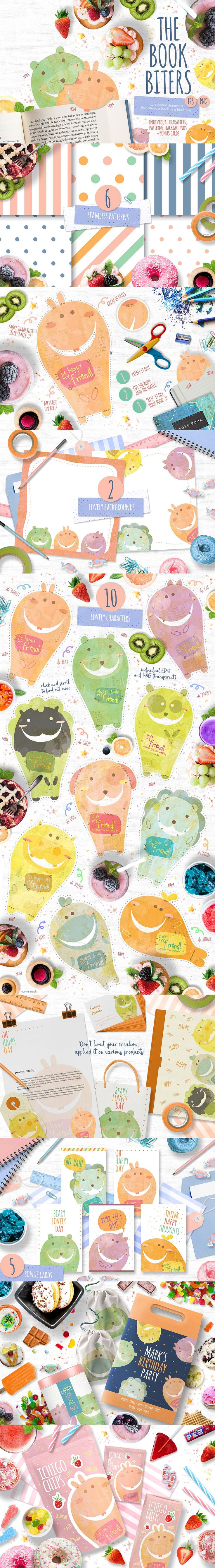 #Freebie Of the Week : Introducing The Book Biters, cute bookmark characters that will happily bite your page :3 *nom - Use it as bookmarks and fuel for your #creative creations! #Birthday invitations, #party supplies, room #decorations, snack #packaging, paper bags, book cover, #stickers and more! ( #vector #illustrations #scrapbooking #patterns #vintage #rainbow )