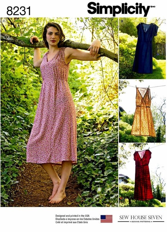 Simplicity 8231 Pullover Dress Pattern Midi Dress Pattern Casual Dress by blue510