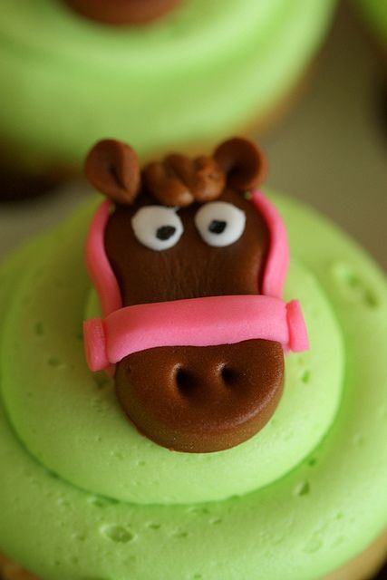 Fondant horse cupcake toppers  or I may try tootsie roll cute