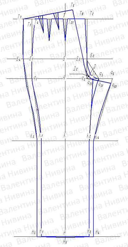 modello pantalone --- Выкройка женских брюк. Пошаговые инструкции построения чертежа основы женских брюк.