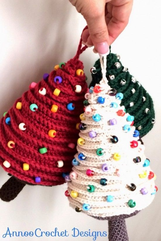 Mini Christmas Tree Ornaments  Free Crochet Pattern - Loads of amazing FREE Patterns in our post.