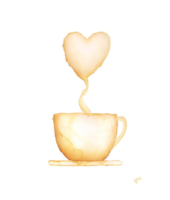 Coffee Cup Watercolor Painting Cocoa Hot Chocolate by PainterPeeps, $20.00--For the kitchen!!