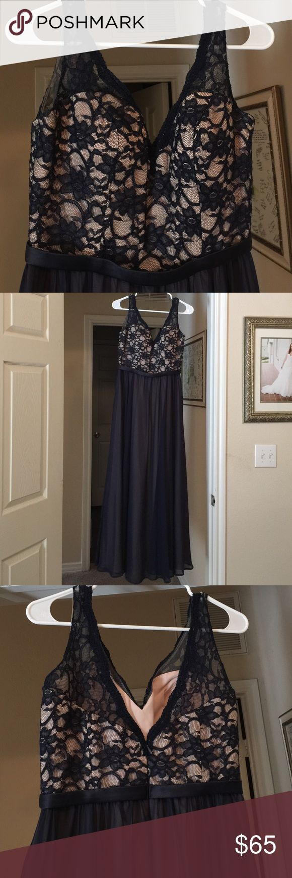 Formal dress Beautiful navy formal dress perfect for wedding or prom. The bodice is navy lace with a nude lining. Mori Lee Dresses Prom