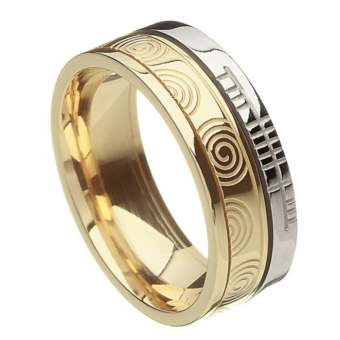 Comfort Fit Newgrange Faith Yellow Gold with White Rail Band - Rings from Ireland