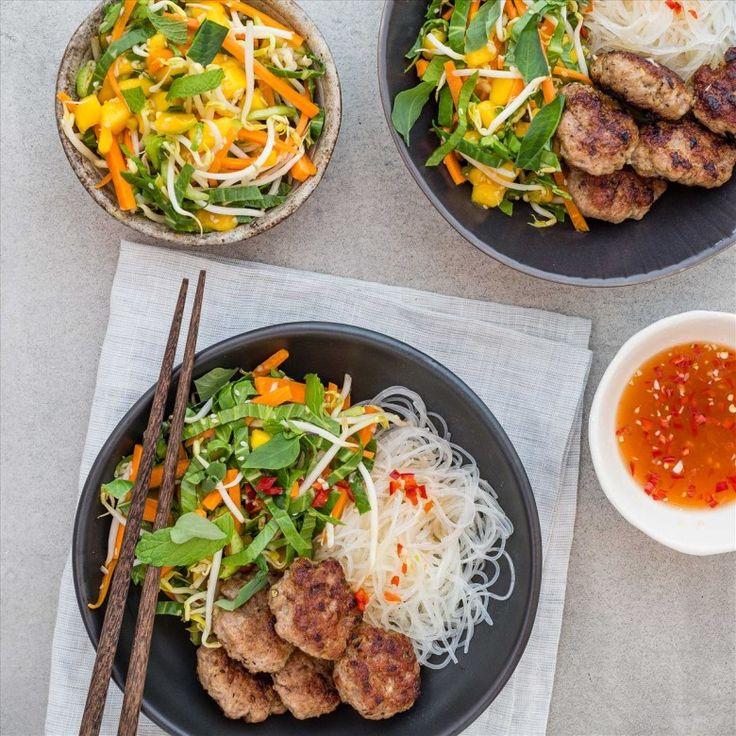 pork bun cha with mango salad and vermicelli