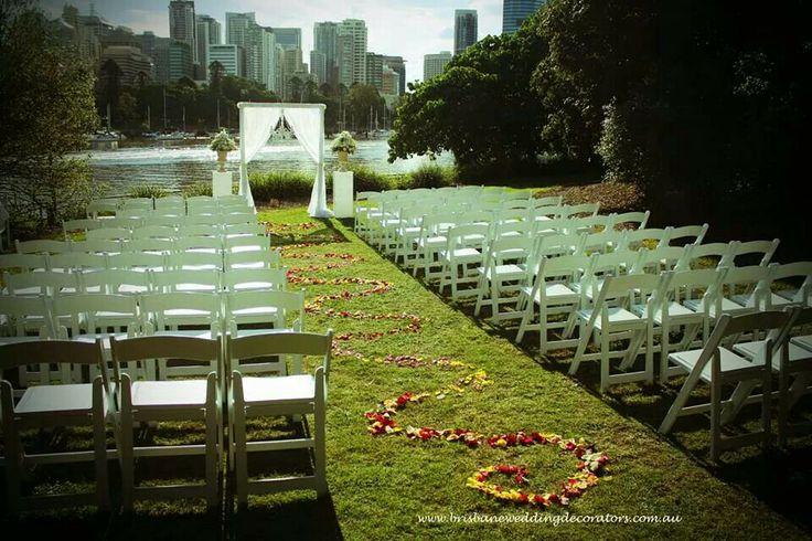 Gorgeous rose petal wedding aisle at a lavish Riverlife Brisbane wedding. www.brisbaneweddingdecorators.com.au