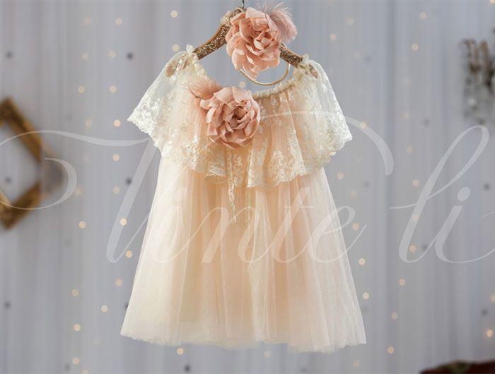 Βαπτιστικά ρούχα, φόρεμα Vinte li με μεταξωτή δαντέλα 2502