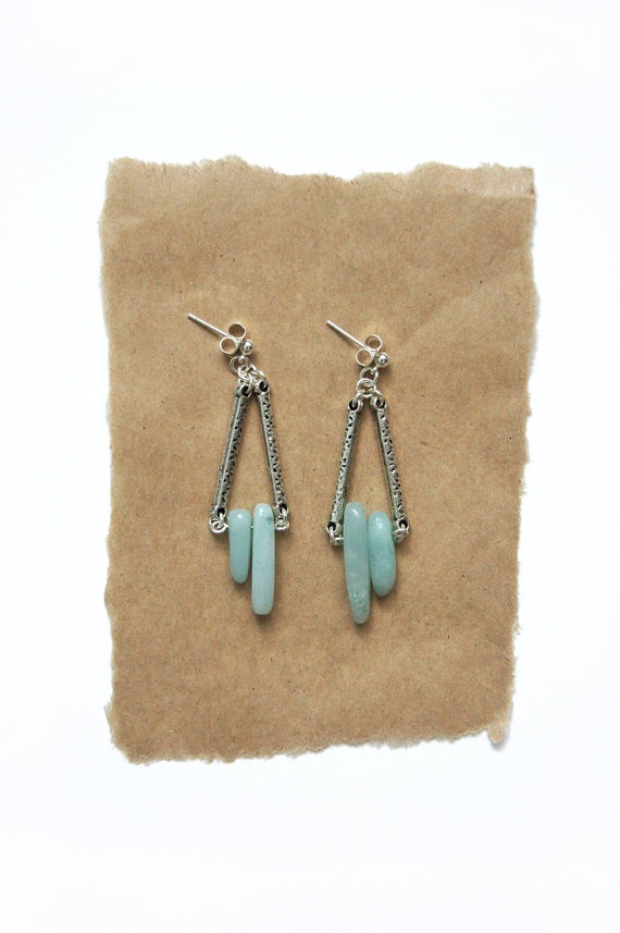 Triangle Amazonite Earrings by HearsayDesigns on Etsy, $28.00