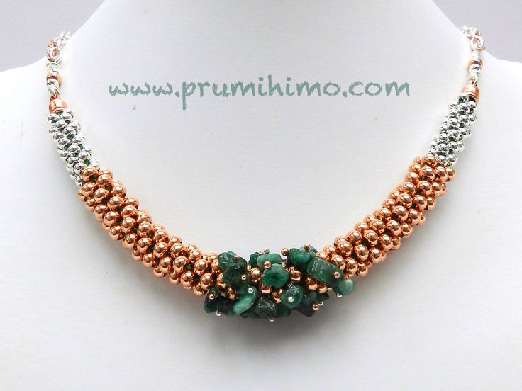 Beaded kumihimo necklace with genuine emeralds by Prumihimo