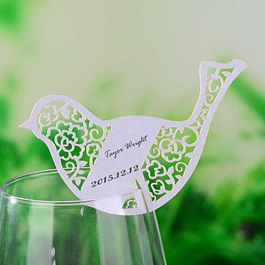 tarjetas del lugar y de los titulares de láser de corte de aves tarjeta del lugar en forma de copa de vino - conjunto de 12 – USD $ 3.99