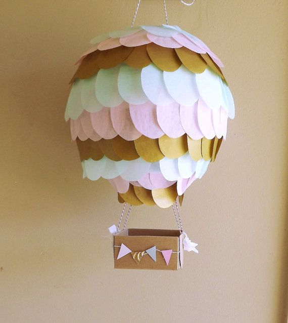 Metallic Gold, Light pink and Mint Hot Air Balloon Lantern Decoration for Weddings, Nurseries, Showers