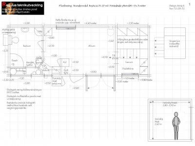 Ritning på en boendelösning på 25-27 m2 med badrum, kokvrå & allrum samt sovrum.