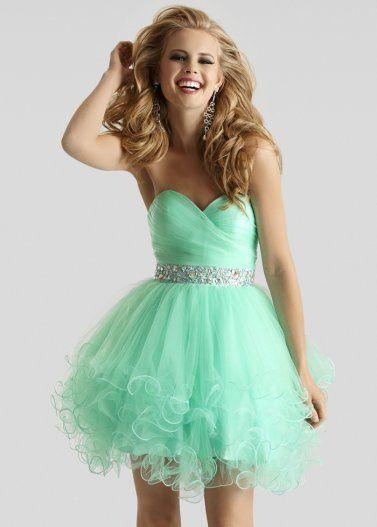 Short mint green prom dress
