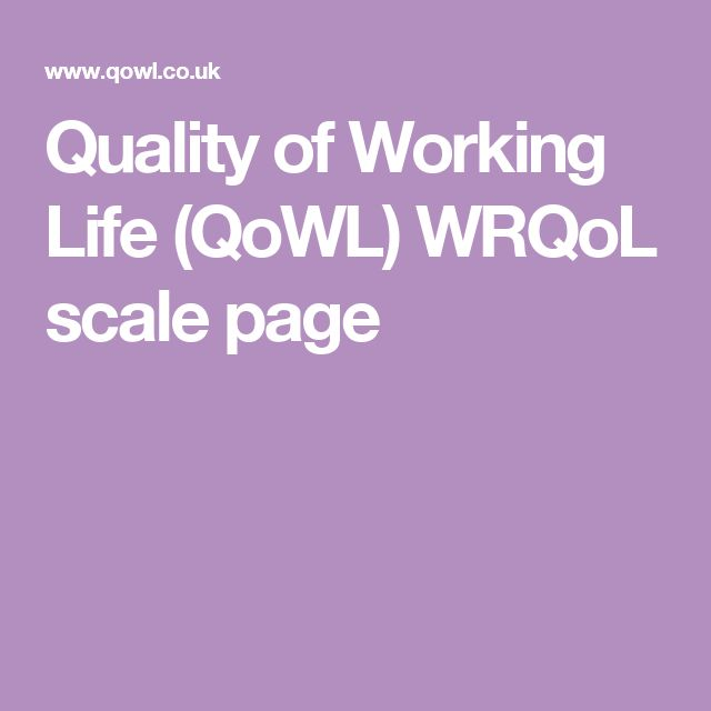 Quality of Working Life (QoWL) WRQoL scale page