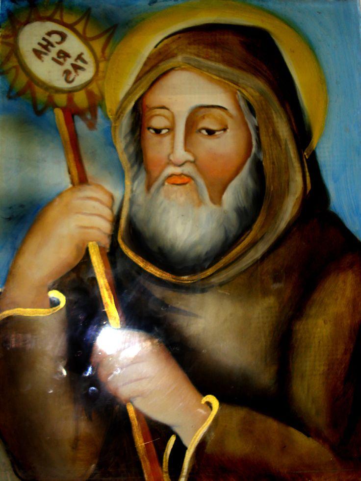 S. francesco da paola Pittura su vetro CM 40X30