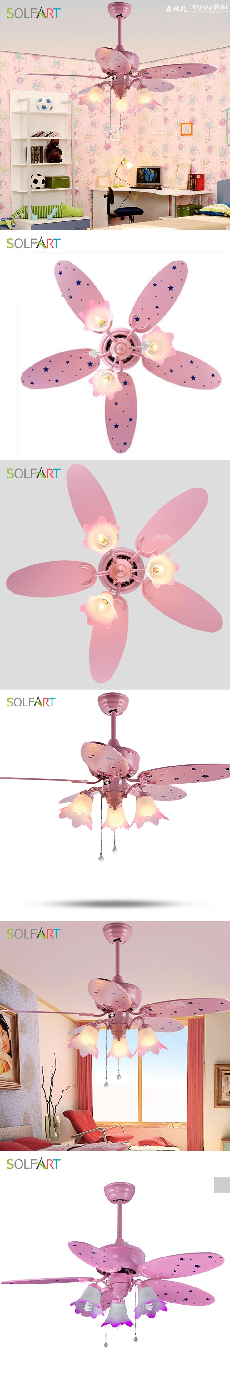SOLFART ceiling fan remote control mute and security save energy kids room led ceiling fan lamp pink ceiling fans slf2018
