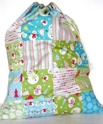 santa sacks - patchwork.  kids can choose 3-4 sampes of fabric they each like and away you go......