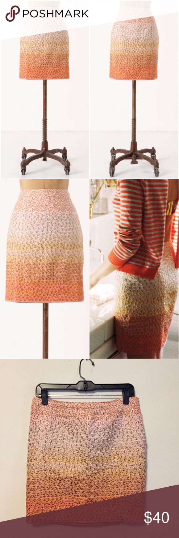 "Anthropologie HD in Paris Ombré Petals Embroidered Anthropologie HD in Paris Ombré Petals Embroidered Skirt Lustrously embroidered cherry blossoms and an ever-deepening hue lend dimension to a slim linen skirt.  Stunning leaf detail against orange ombre. 100% Linen, 100% Polyester Lining Fully lined. Side zip enclosure.  Approximate: 16"" Waist, 17.5"" Length  Gently preowned but good condition. Anthropologie Skirts Pencil"
